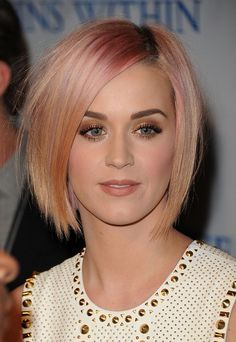 Katy Perry Short Pink Bob Hairstyle - Short Straight Haircut