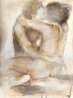 Nude Couple Art - Giclee Art Print, The Lovers Series, Bedroom Art, Couple Wall Art