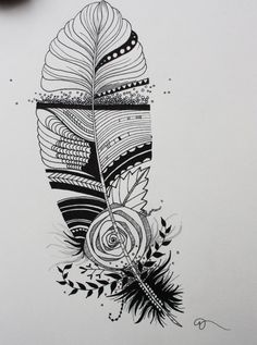 Original India Ink drawing or tattoo design, Whimsical Abstract Feather, Customizable Ink Pen Drawings, Easy Drawings, Makeup Black, Pen Design, Graphic Design, Cameo, India Ink, Foto Art, Feather Tattoos