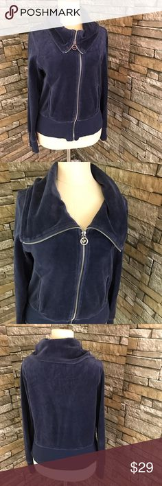 Michael Kors Womens Velour Jacket Size Medium Blue Michael Kors Womens Velour Jacket Size Medium Blue Cowl Neck. Condition: Pre-owned. No flaws.  Features: Cowl Neck. Zipper Closure. Front pockets. Chest: 17.5 inches, Length: 21 inches, Sleeves: 24 inches Michael Kors Tops Sweatshirts & Hoodies