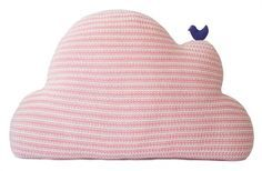 Soothing shades of pink and a playful knit design are a perfect combination on the Cloud Pillow in Pink.  The little bird perched on the cloud is an adorable touch