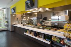 Corporate cafeteria, servery, cafe, cafeteria, healthy food choices, suburban campus amenities, dining