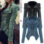 Sharp Power Studded Shoulder Notched Lapel Denim Jeans Tuxedo Coat Blazer Jacket. God I want one