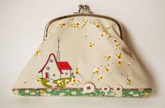 Handmade screen printed and hand painted large Coin Purse or Clutch.   The house on the hill
