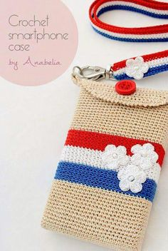 Crochet Phone Pouch Crochet smartphone case Paris by Anabelia Crochet Pouch, Crochet Purses, Crochet Stitches, Crochet Patterns, Pochette Portable, Pochette Diy, Love Crochet, Diy Crochet, Crochet Baby