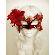 Burgundy, Red Gold Masquerade Mask WithVarious Embellishments ❤ liked on Polyvore featuring mask