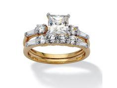 Cut Cubic Zirconia Yellow Gold Wedding Ring Set Size