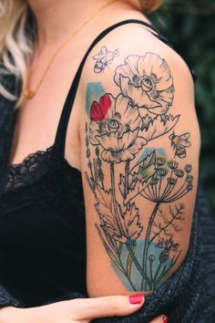 Botanical tattoo by Alex Cfourpo / Vegan ink / More pictures in linked blogpost! <3