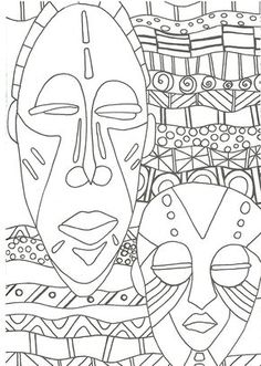 coloriage masques africains