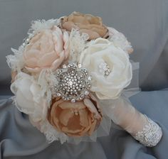 Large vintage fabric bouquet - coral shades, ivory, tan and champagne loaded with crystals and brooches