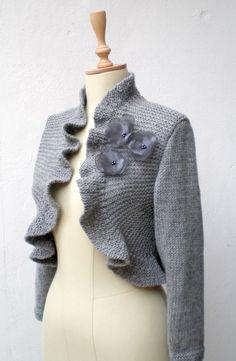 Ruffle Bolero Shrug Shawl Wrap Capelet Grey  3/4 sleeve. $85.00, via Etsy.