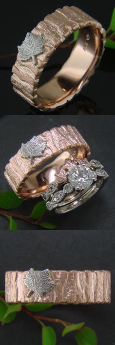 Custom nature-inspired wedding bands:  Bark textured rose gold with small maple leaf in platinum / engagement ring with custom carved shadow band of three hand carved 14k rose gold maple leaves and bead set champagne diamonds #cool engagement ring