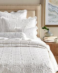 Crocheted by hand, this cozy coverlet set introduces lovely texture and a subtle pattern into your decor. Crochet is a handwork technique popularized in France in the early Crochet Bedspread, Crochet Quilt, Chenille Bedspread, Living Room Decor, Bedroom Decor, Bed Styling, Handmade Home Decor, Bed Covers, Bed Spreads