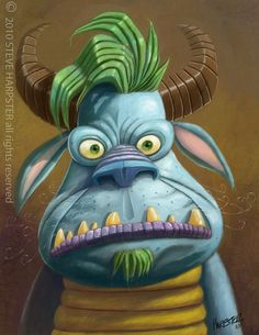 Just a portrait of a monster created in my sketchbook and photoshop. Cartoon Monsters, Cute Monsters, Little Monsters, Green Monsters, Monster Sketch, Monster Art, Mini Monster, Character Illustration, Illustration Art