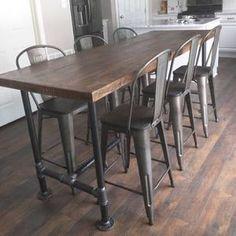 Reclaimed Wood Bars, Reclaimed Wood Dining Table, Industrial Table, Industrial Metal, Rustic Wood, Industrial Furniture, Diy Wood, Furniture Vintage, Salvaged Wood