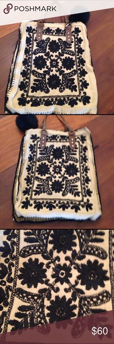 Anthropolgie Holding horses bag Awesome embroidered and beaded 17x14 nice big bag pockets on inside a beautiful bag to carry !! From anthropolgie in almost new shape like pictures show inside is new holding horses Bags Shoulder Bags