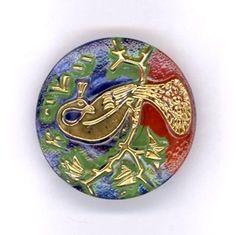 Czech glass peacock button