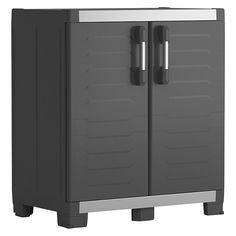 Plastová skříň Keter XL Garage nabízí úložné řešení s pevnou a odolnou konstrukcí vůči rzi, promáčknutí, prohnutí nebo praskání. Vyznačuje se elegantním designem, nízkou hmotností a tím i snadným umístěním a manipulací. Tento pomocník pro skladování Vám může přinést pořádek i do těch nejpřehlednějších garáží. Bauhaus, Plastic Cupboard, Tall Cabinet Storage, Locker Storage, Garage, Door Curtains, Types Of Doors, Color Negra, Door Design