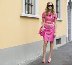 pink leather 2017 outfit withpink pumps