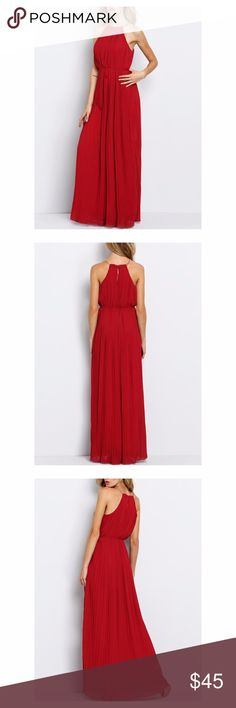 New Halter pleated maxi dress Bought it for a wedding but didn't have time to get the length altered, so my loss your gain!  It's a beautiful dress, the fabric is chiffon style and it is lined underneath.  The neckline closes like a necklace.  The color is a deep red Dresses Maxi