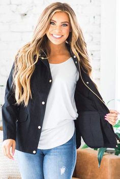 It is impossible to have the perfect wardrobe without a perfect jacket! Our Nash Utility Jacket is a must-have this season! With a stunning fabric contrast design, fully functional pockets, and a flattering button and zip-up fit, you can't go wrong! Wear it with your favorite pair of skinnies and booties or converse for a great look!