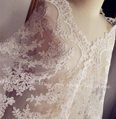 Exquisite Ivory Alencon Lace Fabric Trim Wedding Veil by lacetime, $19.99