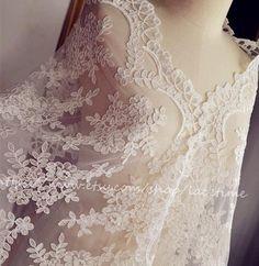 Exquisite Ivory Alencon Lace Fabric Trim Wedding Veil by lacetime