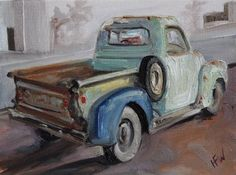 """Daily Paintworks - """"Chevy for Sale"""" - Original Fine Art for Sale - © H.F. Wallen"""