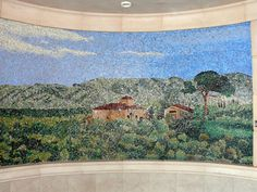 Tile mosaic from late 1800's that was moved to be a decoration on a cruise ship