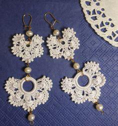 BRIDE WHITE crochet earrings, double crochet earrings, bead work earrings, gift for her, gift for bride, romantic jewelry, wedding earrings by ENOTIA on Etsy