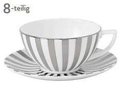 Wedgwood: Porzellan-Tassen mit Untertassen Jasper Conran Platinum, 8-tlg.