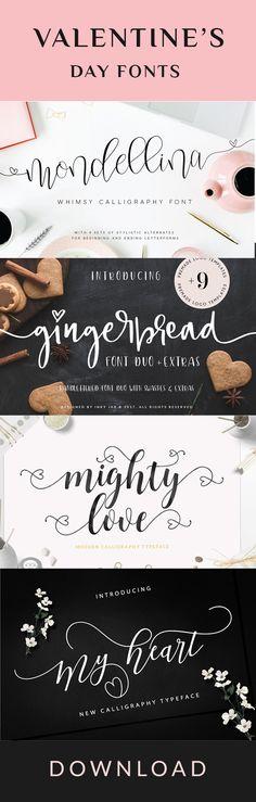 Collection of lovely Valentine's day fonts. Love, hearts, swirls. #valentinesday #Valentine #Fonts #Elegant #Chic #girly #hearts #heart #love #lover #loveletters #loveletter