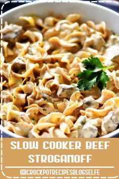 4.8 ★★★★★ - Slow Cooker Beef Stroganoff would make a great addition to your weeknight dinner rotation. It is a simple slow cooker recipe with amazing flavor! This comforting dinner is one the entire family will love! #CrockpotRecipesBlogSelfe #SlowCooker #Beef  #CrockpotRecipesBeef #dinner #simple