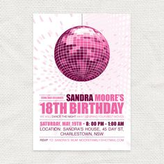 disco diva teen birthday party invitation - printable file. $15.00, via Etsy.