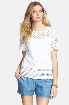 MICHAEL Michael Kors Eyelet Structured Tee (Regular & Petite) available at #Nordstrom