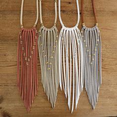 Boho Fringe Necklace~$64~ made on the finest leather lace with adjustable finish