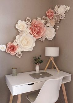 Paper Flowers Wall Decoration - Nursery Paper Flowers - Wall Paper Flowers Decor - Large Paper Flowers - Wohnung~Möbel~Farbe - Home Decor