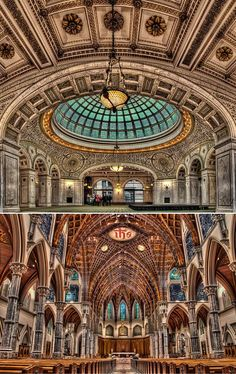 The Chicago Cultural Center - Preston Bradley Hall. This is the largest stained-glass domed ceiling in the world by Tiffany