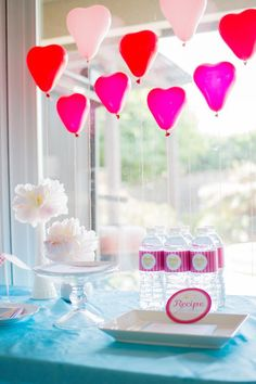 Cute and easy way to decorate for valentines day! Mini heart balloons!  Kara's Party Ideas | KarasPartyIdeas.com