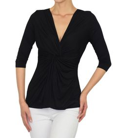Look at this Sunny Crystal Black Twist Top on #zulily today!
