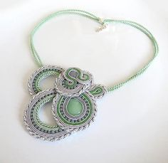 Grey pastel green statement necklace green colorful by sutaszula