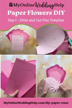 Step 1 in this paper flowers DIY is to download the free template. Then, print and cut. This giant rose like flower is ideal for fun craft project. Or wedding decor. See the full step-by-step instructions and a downloadable template on the MyOnlineWeddingHelp.com blog.