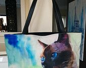 Applehead Siamese Art Purse Bag Tote Cat Watercolor Art Painting Seal Chocolate Point