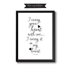 I Carry your Heart Printable Art Inspirational by TheIvyLetterShop