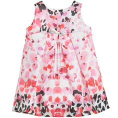 Satin Pink Floral & Leopard Dress , Loredana, Girl