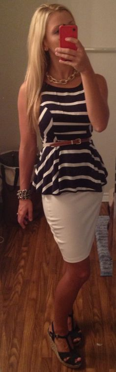 Preppy nautical summer office look: skirt- Urban Outfitters | top-Target | belt- Target | necklace- Banana Republic | wedges- Payless!!!