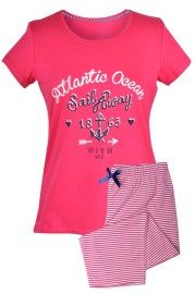 MUZZY nightwear, piżama, koszulka + rybaczki, malinowa, wzór marynarski, więcej na www.muzzy.pl/sklep