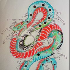 traditional snake tattoo - yoso, New Style and traditional Japanese Tattoo Flash, Sketches made in Japan Japanese Snake Tattoo, Japanese Tattoo Artist, Japanese Tattoo Designs, Traditional Japanese Tattoo Flash, Traditional Tattoo Design, Neo Traditional, Yakuza Tattoo, Bodysuit Tattoos, Castle Tattoo
