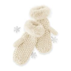 Mark & Graham Chunky Knit Mitten with Fur, Ivory (27 CAD) ❤ liked on Polyvore featuring accessories, gloves, ivory, fleece lined mittens, cold weather mittens, fur lined gloves, fur lined mittens and lined mittens