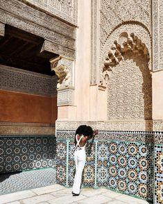 White jumpsuit on dark skinned inspiration. Morocco Melanin Travel